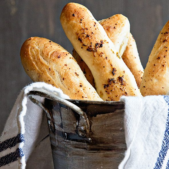 Basic Breadsticks Recipe made using the Bread Machine on dineanddish.net