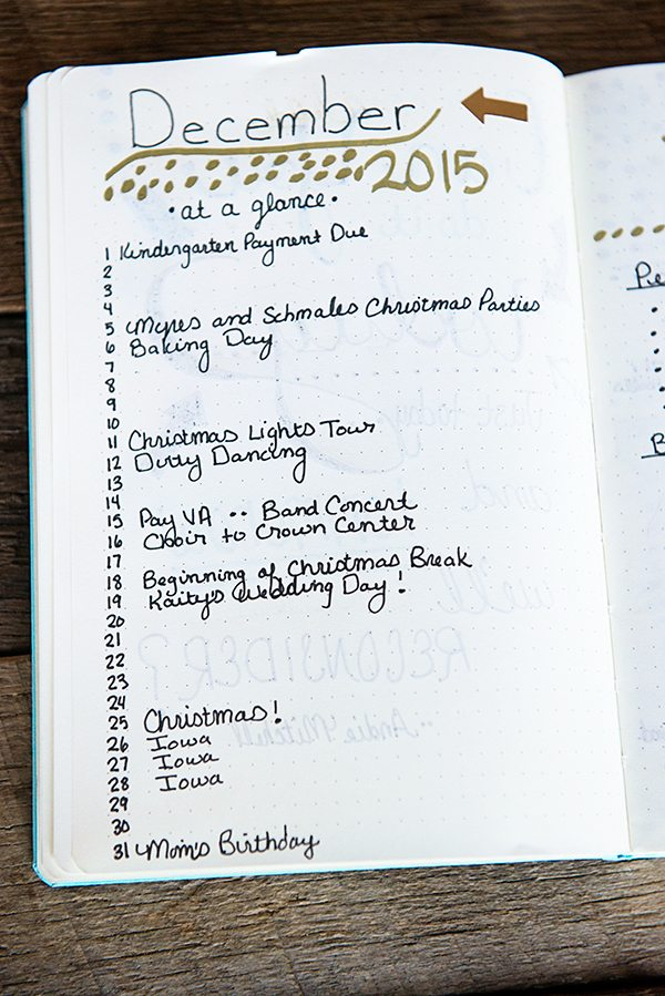 December At A Glance Bullet Journal