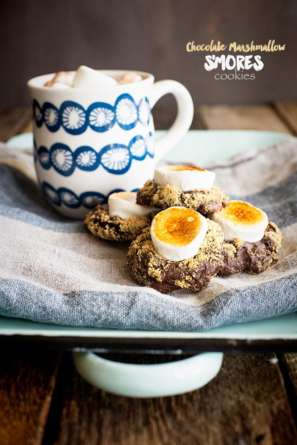 Chocolate Marshmallow S'Mores Cookies Recipe from dineanddish.net #BakeALittleExtra