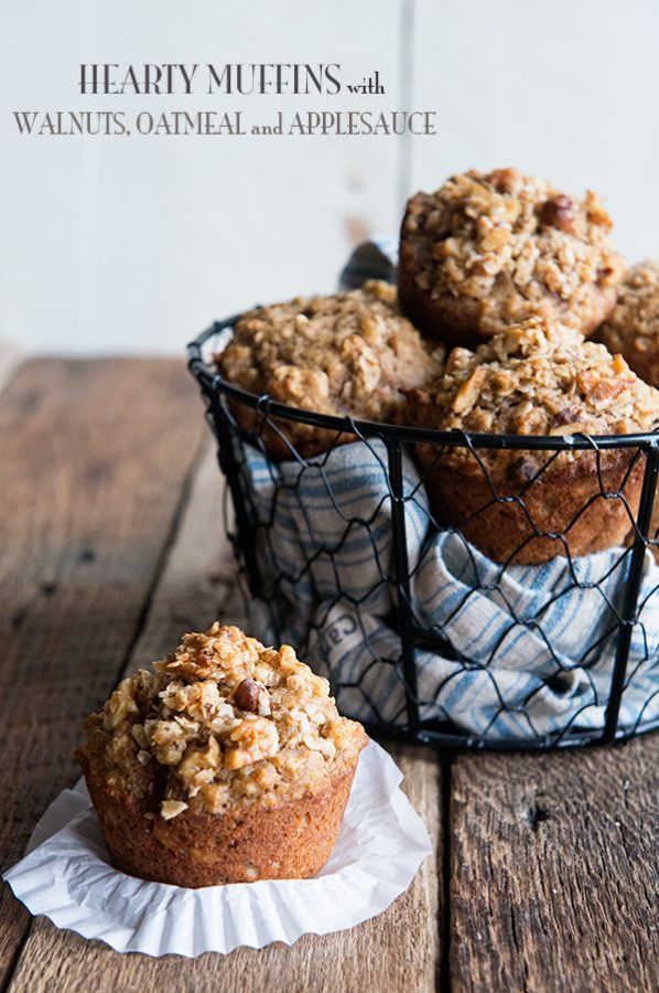 Hearty Muffin Recipe with Walnuts Oatmeal and Applesauce on dineanddish.net