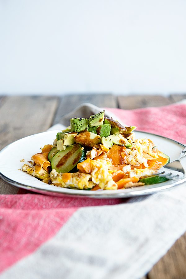 A white plate of diced Avocados, Eggs and Sweet Potatoes with zucchini on a rustic wood background