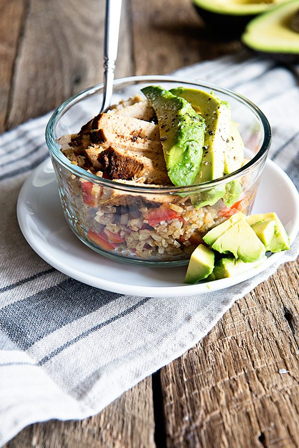 Cauliflower Rice Bowl with Chili Lime Chicken and California Avocados