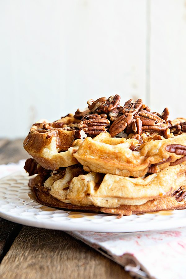 Maple Pecan Waffles Recipe from dineanddish.net