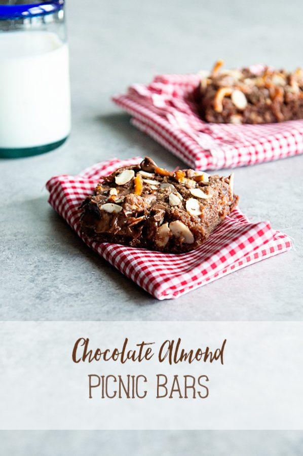 Chocolate Almond Picnic Bars Recipe on dineanddish.net