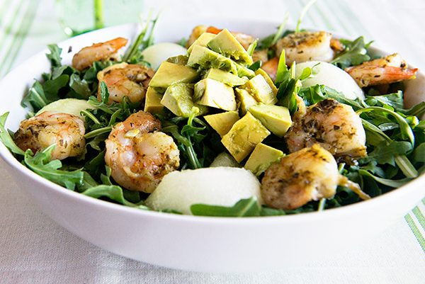 Pesto Shrimp Avocado Salad recipe on dineanddish.net