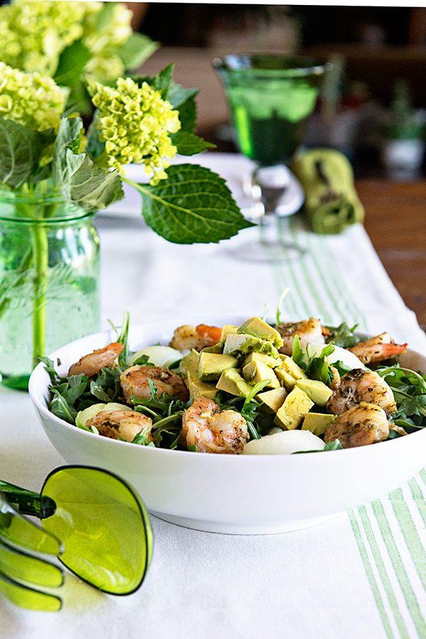Pesto Shrimp Avocado Salad Recipe from dineanddish.net