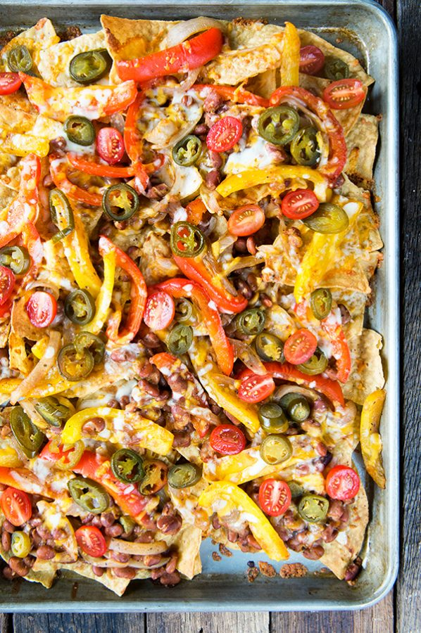 Fajita Sheet Pan Nachos from dineanddish.net