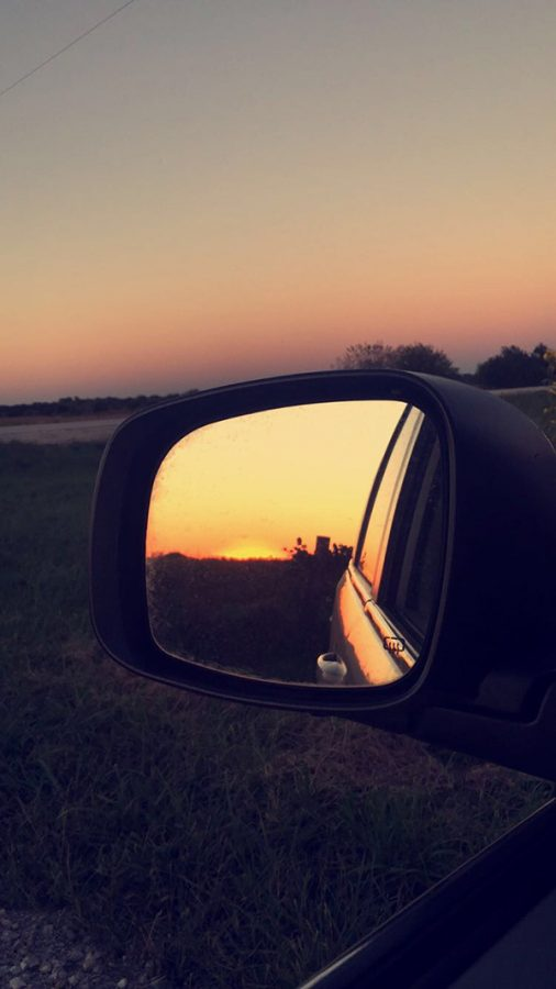 Rearview Mirror Sunset