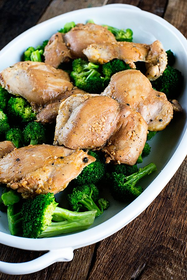 Soy Honey Chicken Thighs recipe on dineanddish.net