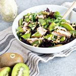Mighties Kiwi and Chicken Salad with Creamy Goat Cheese Dressing - recipe on dineanddish.net