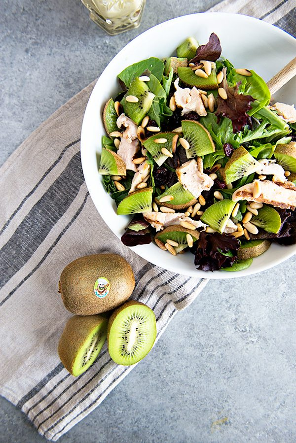 Kiwi and Chicken Salad with Creamy Goat Cheese Dressing