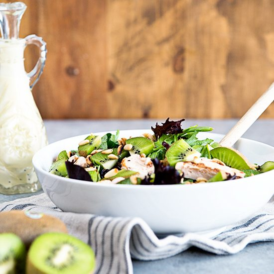 Mighties Kiwi Chicken Salad with Creamy Goat Cheese Dressing