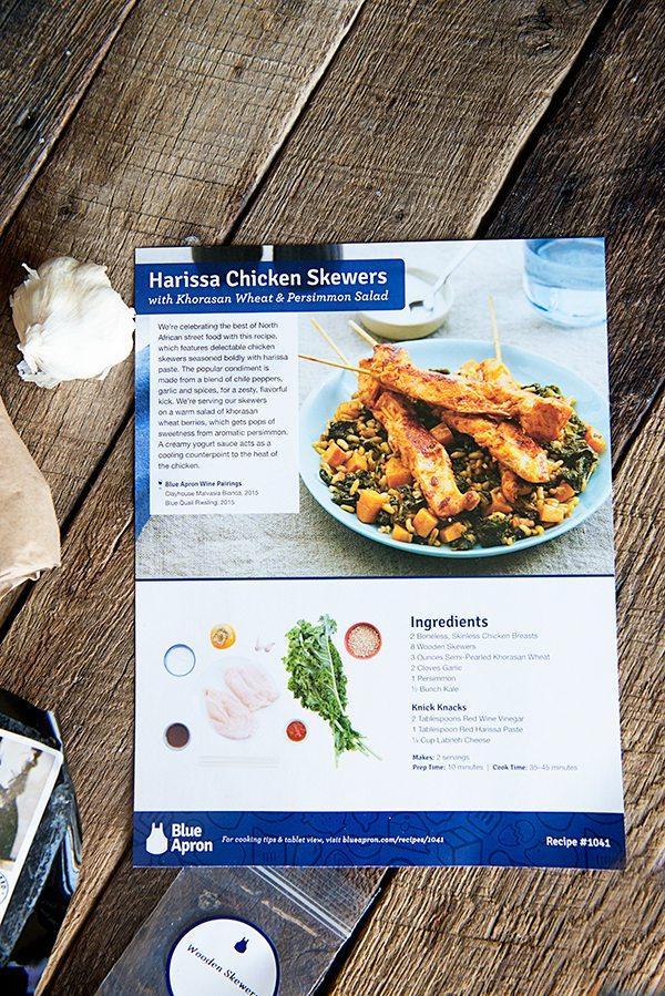 Blue Apron Harissa Chicken Skewers