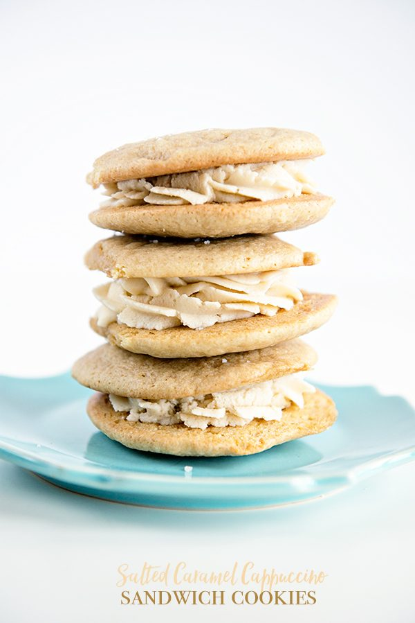 Salted Caramel Cappuccino Sandwich Cookies from dineanddish.net