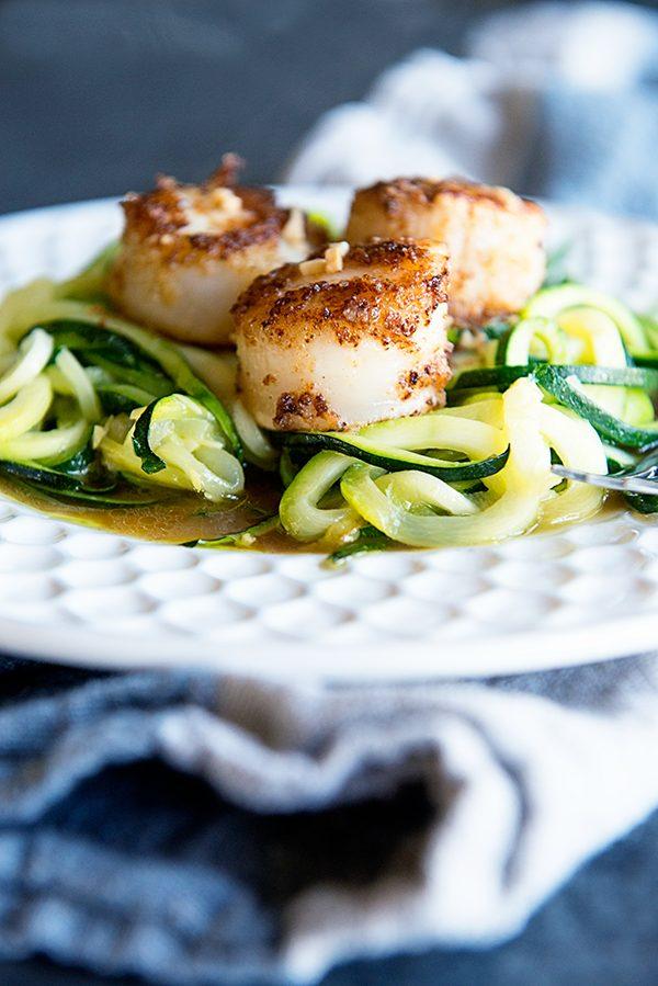 Simple Scallops Recipe over Zucchini Noodles