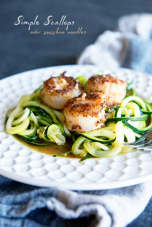 Simple Scallops Over Zucchini Noodles from dineanddish.net