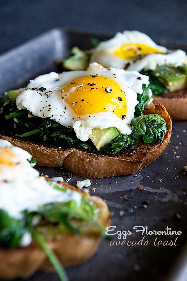 Eggs Florentine Avocado Toast Recipe from dineanddish.net