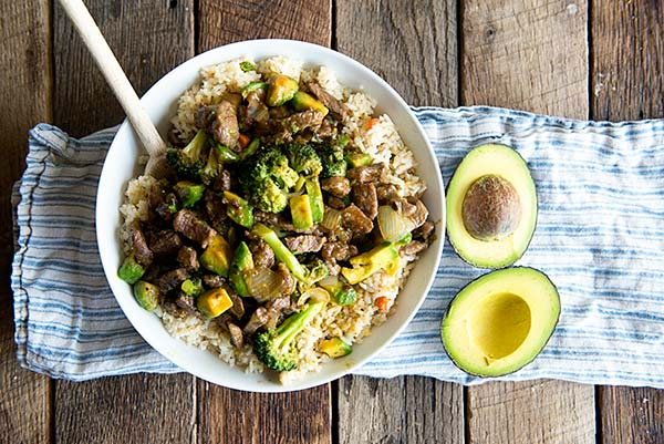 Beef and Broccoli Stir Fry with Avocado