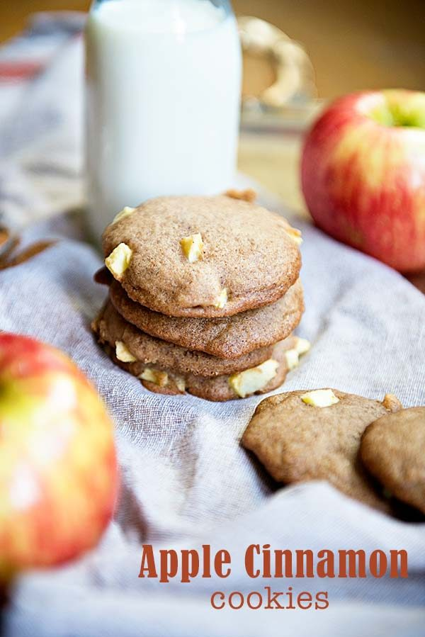 Apple Cinnamon Cookies are soft and tender cookies with a great fall flavor! Recipe from Dine & Dish