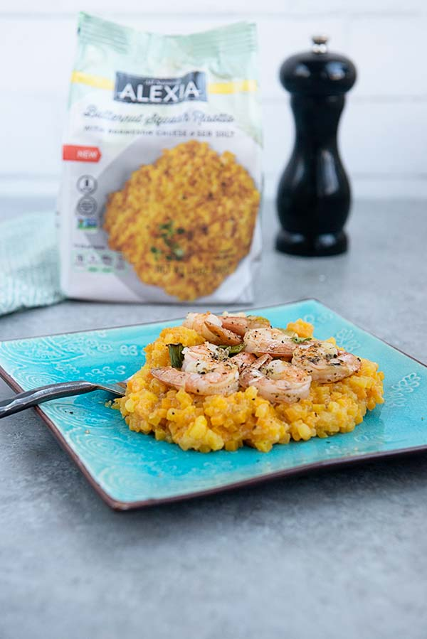 Easy Baked Shrimp over Butternut Squash Risotto