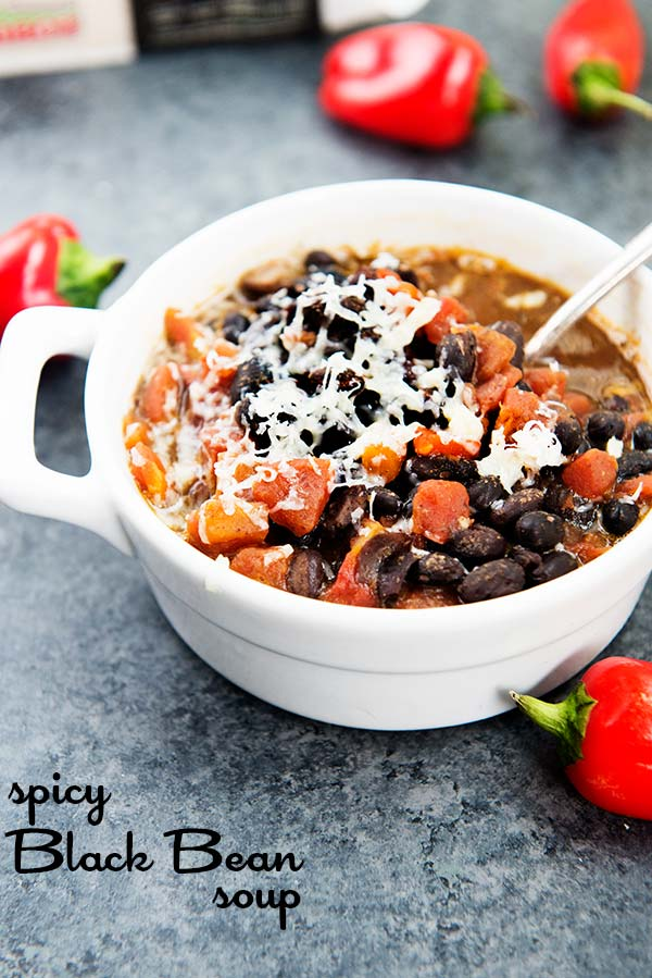 Spicy Black Bean Soup with only 3 Weight Watchers Smart Points per serving