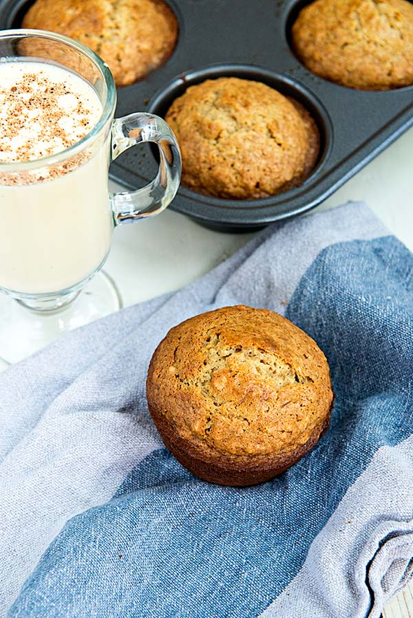 Oatmeal Eggnog Muffins Recipe from dineanddish.net