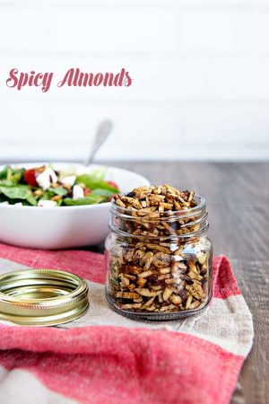 This Spicy Almonds recipe is easy and great for topping salads! Find the recipe on dineanddish.net