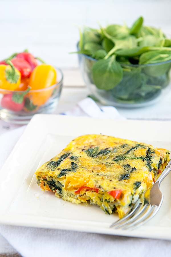A Healthy Egg Casserole packed full of veggies and only 1 Weight Watchers smart point per serving.