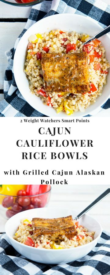 This Cajun Cauliflower Rice Bowl recipe with Grilled Cajun Alaskan Pollock is only 2 Weight Watchers smart points per serving. Low carb and high in protein, this recipe is excellent for your healthy lifestyle. www.dineanddish.net