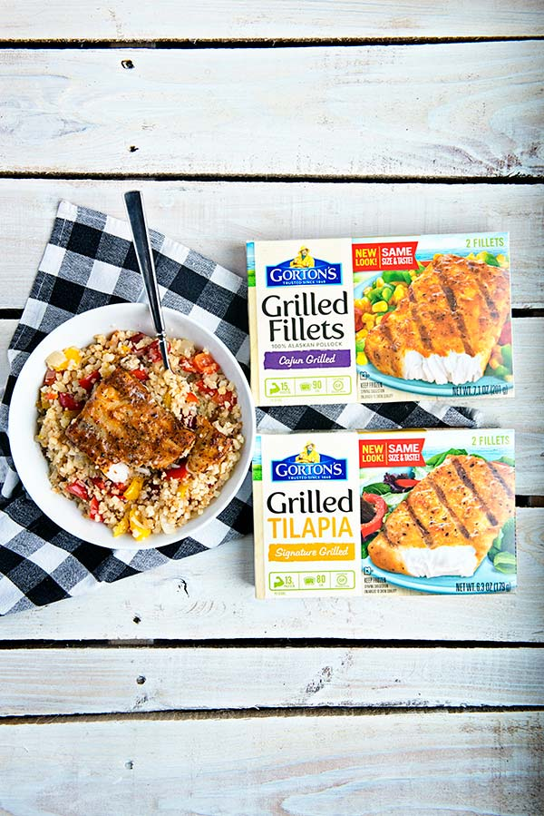 Gorton's Grilled Seafood Fillets over a cauliflower rice bowl