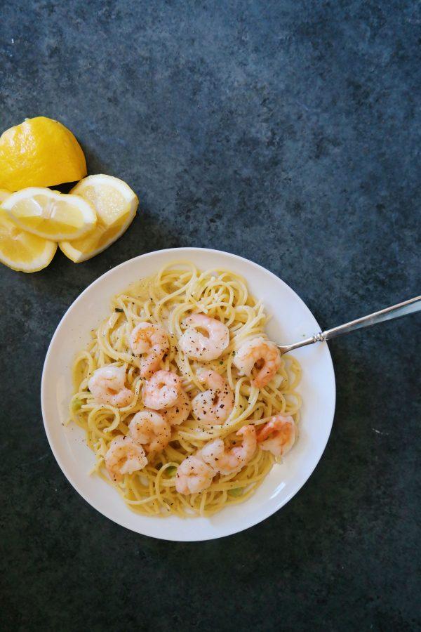 Lemon Shrimp Spaghetti Toss Recipe from dineanddish.net
