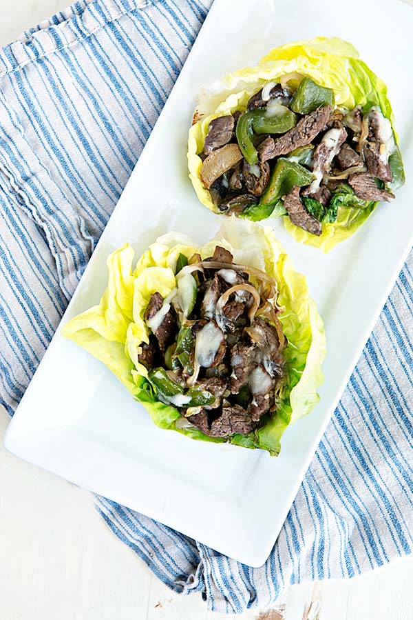 Cheesesteak Lettuce Cups are the perfect low carb cheesesteak alternative to your favorite cheesesteak