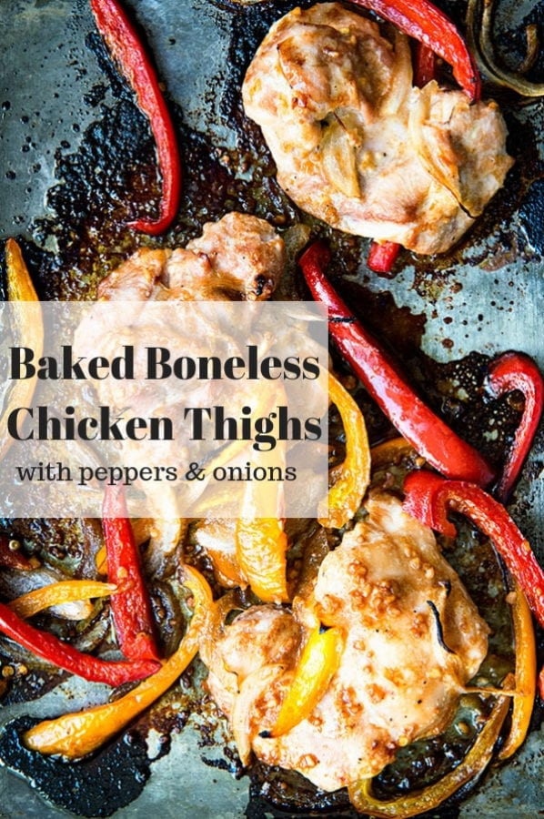 Sheet Pan Chicken Thighs with Peppers and Onions - a great way to make baked boneless chicken thighs!