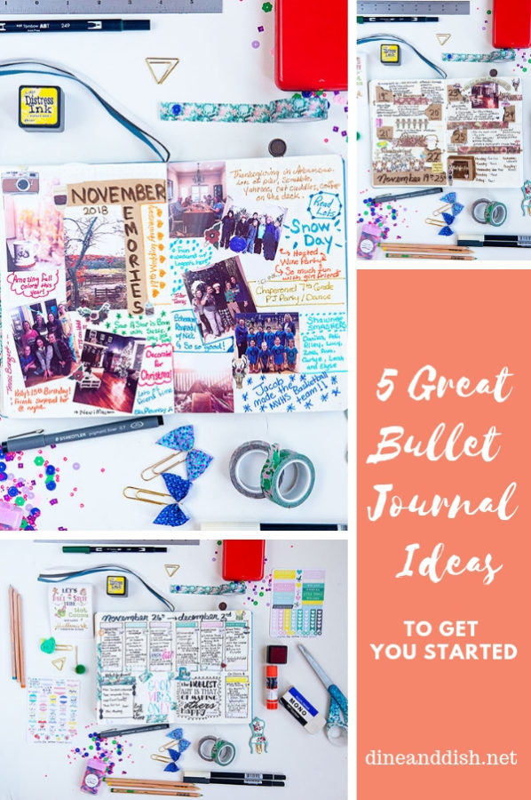 Collage of various bullet journal spreads with pictures and text