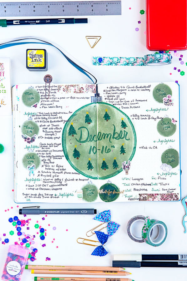 Bullet Journal page with green christmas ornaments stamped on