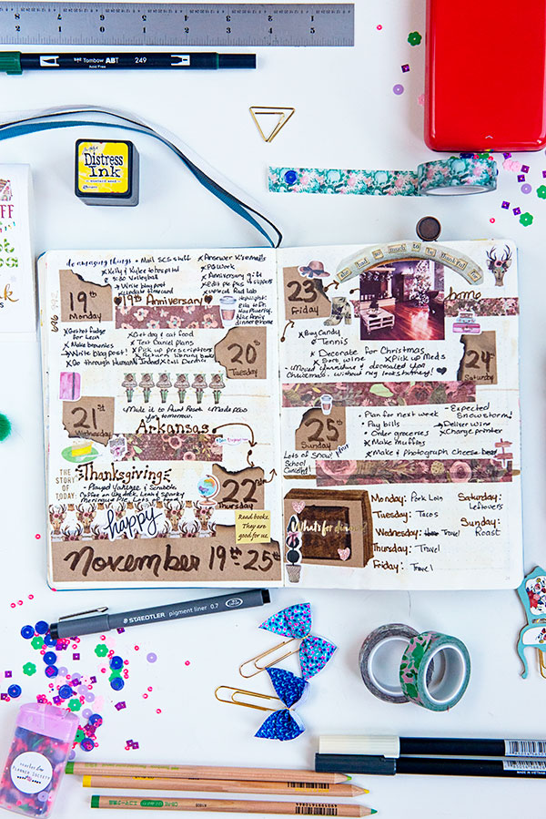 flat bullet journal with craft paper embellishments
