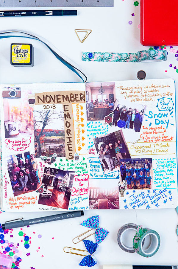 a bullet journal page with photographs for November Memories