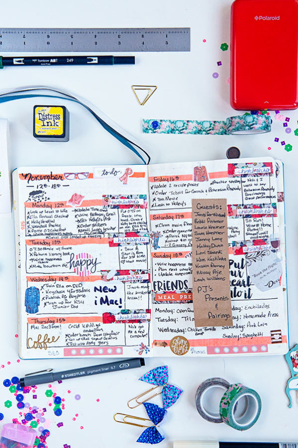 Bullet Journal ideas for a weekly spread with a white background