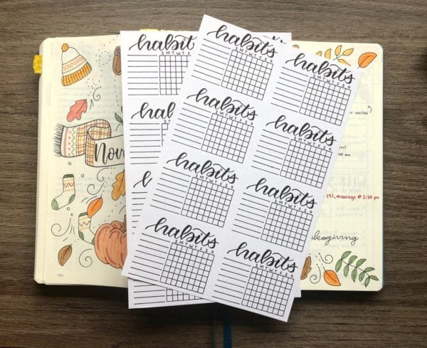 Habit Tracker Bullet Journal Stickers