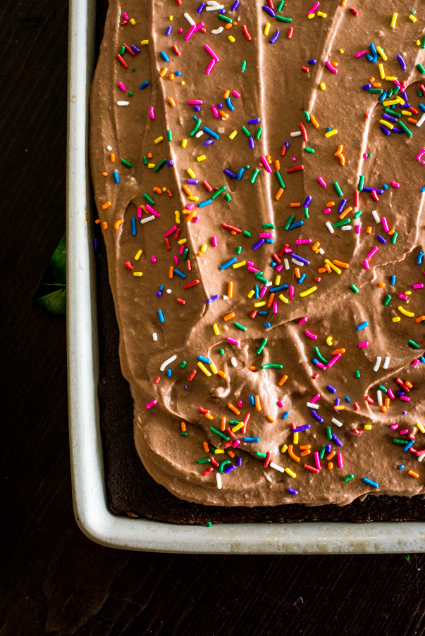 chocolate cake with sprinkles and chocolate frosting in a stoneware pan
