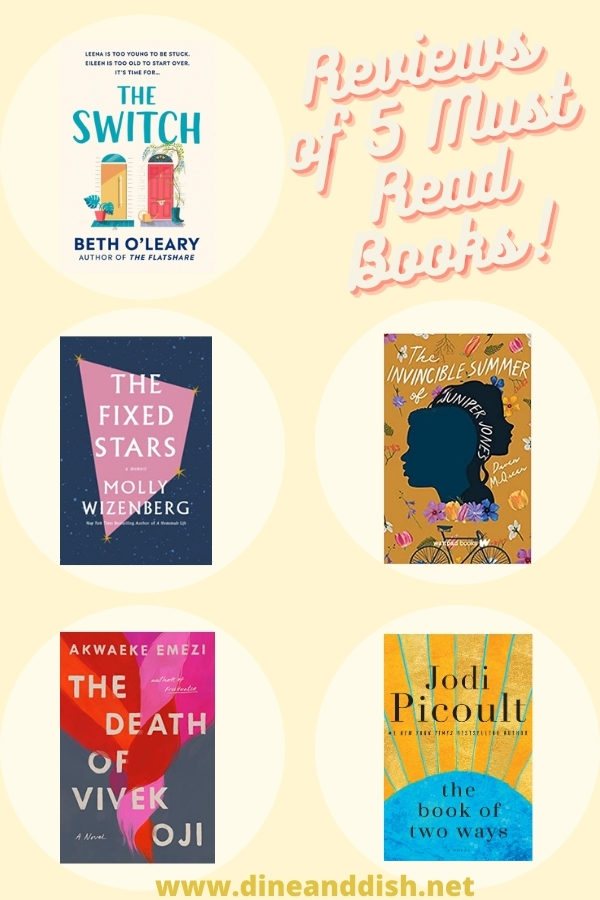 light yellow collage of 5 fiction book covers